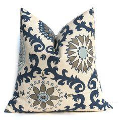 Blue Tan Pillow. Decorative Throw Pillows. Blue by EastAndNest, $24.00