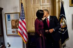 First Lady Michelle Obama and President Barack Obama .A private moment behind the scenes.