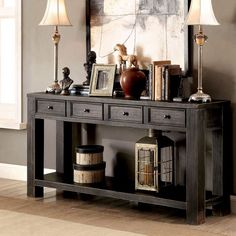 """""""Save Over 40% On this GORGEOUS Bold Antique Styled Black 4 Drawer SofaTable! Posted on October 25, 2017 by Bella Atto LLC. Speak volumes with theCosbinbold antique black four-drawer sofa table. Its rustic style adds personality to the piece and four drawers display its functional abilities.""""  The Bella Atto Deals Blog~"""