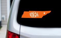 Monogram Initials over Tennessee with Heart over by JewellLeeStyle  The PERFECT UT fan decal!! Get yours for football season!  Go Vols!!