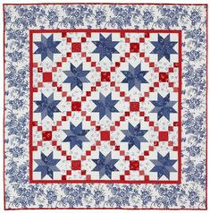 "Oh My Stars ~ RW&B quilt using Irish Chain & LeMoyne Star blocks, designed by Alex Anderson, finished size 62""sq, $6 pattern | via APQ Shop"