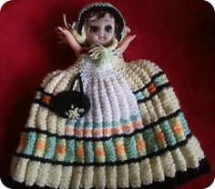 Lovely Vintage Hand Made Kewpie Doll Knitted Tea Cosy Novelty variation of traditional ribbed tea cozy