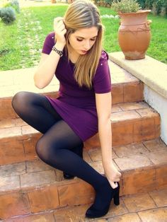 Tights Galore aims to be the number one place for tights and pantyhose fashion inspiration. Pantyhose Outfits, Nylons And Pantyhose, Fashion Tights, Tights Outfit, Pantyhose Fashion, Mädchen In Leggings, Black Opaque Tights, Black Nylons, Sensual