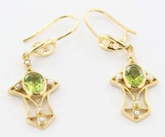 Estate 18 Karat Yellow Gold Peridot Seed Pearl Drop Dangle Earrings Fine Jewelry $489