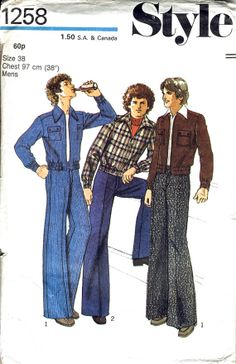 Mid sewing pattern to make men's casual jacket and flared trousers. Fab illustration to envelope front. 60s And 70s Fashion, Retro Fashion, Fashion Art, Vintage Fashion, Fashion Outfits, Aesthetic Fashion, Aesthetic Clothes, Retro Outfits, Vintage Outfits