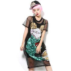 >> Click to Buy << England style sequin mermaid paillette grid translucent one piece dress female perspectivity guaze black fish print dress  #Affiliate