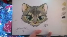 Quick watercolour of my cat Mr. Munchkin <3