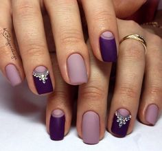 Beautiful evening nails, Evening dress nails, Evening nails, Evening nails by gel polish, Matte nails, Nails with rhinestones, Plum nails, Plum shellac