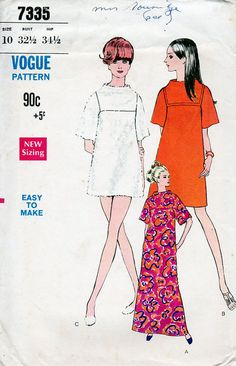 1960s A Line Dress Pattern Vogue 7335 Vintage by BessieAndMaive
