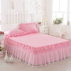 Korean Princess Lace Bed Skirt Single Bedspread Three-piece Set Lace Bed Table Simmons Protective Sleeve Kose Mattress Cover