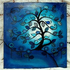 This painting has been featured on several dozen treasury lists.and counting! Your painting will be in this style and layout with the Tree Paintings, Custom Paint, Cousins, Blue Bird, Curvy, Trees, Layout, Birds, Unique