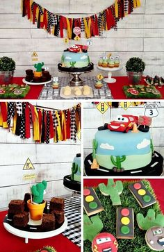 Cars and Trucks Party Inspiration Collection Disney Car Themed Party Ideas, Cars Birthday Party, Cars Party Cake, Disney Car Dessert Table, Disney Car Party Decorations Disney Cars Party, Disney Cars Birthday, Disney Cars Cake, Disney Theme, Race Car Birthday, Birthday Party Tables, Cars Birthday Parties, Cake Birthday, Car Themed Birthday Party