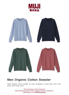 Organic Cotton Sweater for men. Available in aqua blue, navy, leaf green and smoky pink colors.