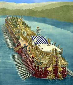 Painting of Caligulas party ship. Recently 2 were discovered at the bottom of a small lake in Rome. They were described as floating palaces.
