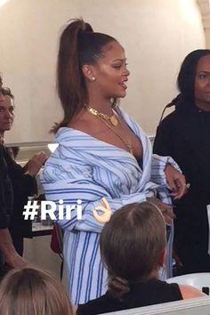 Rihanna Balenciaga striped robe coat and cotton scarf