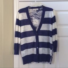 ✨LOFT CARDIGAN✨ BRAND NEW WITHOUT TAGS!! Purple and white striped cardigan.  Floral design on the back.  Ramie/rayon blend lightweight.  No snags tears or pulls. LOFT Sweaters Cardigans