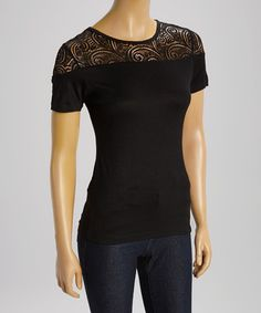 Look what I found on #zulily! Black Lace-Panel Scoop Neck Top - Women by Style 101 by Ganz #zulilyfinds