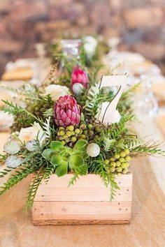 Planning a rustic wedding filled to the brim with fynbos and burlap and cute 'down on the farm' touches? Well then, this one's for you, brideys! Christel and Andries, farm lovers … Rustic Wedding Centerpieces, Wedding Table Centerpieces, Wedding Flower Arrangements, Flower Centerpieces, Centrepieces, Centerpiece Ideas, Wedding Decorations, Protea Centerpiece, Floral Arrangements