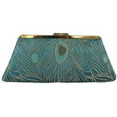 Teal, Gold peacock wedding clutch/ Bridal accessory/ Peacock wedding... ❤ liked on Polyvore featuring bags, handbags, clutches, party clutches, chain purse, hand bags, peacock purse and gold handbags