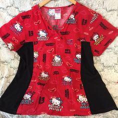 Hello Kitty Sanrio Red V-neck Scrub Top Stretchy Black Side Panels Size Large #Sanrio
