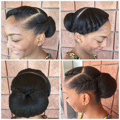 60 Easy and Showy Protective Hairstyles for Natural Hair Black Low Bun Updo Protective Hairstyles For Natural Hair, Natural Hair Updo, Pelo Natural, Natural Hair Care, Natural Hair Styles, Styling Natural Hair, Natural African Hair, Wedding Hairstyles Natural Hair, African American Natural Hairstyles