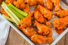 The BEST Buffalo Wings you'll ever eat and they're oven baked! Tossed with a delicious buffalo wing sauce these will be the hit of your parties! Honey Garlic Chicken Wings, Chicken Wing Sauces, Grilled Chicken Wings, Crispy Baked Chicken, Chicken Wing Recipes, Chicken Steak, Tuscan Salmon Recipe, Healthy Eating Quotes, Sweet N Spicy