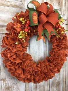 Rustic Orange Ruffled burlap wreath Autumn wreath Fall | Etsy Thanksgiving Wreaths, Autumn Wreaths, Christmas Wreaths, Rustic Thanksgiving, Fall Burlap Wreaths, Diy Spring Wreath, Diy Wreath, Wreath Ideas, Orange Burlap Wreath