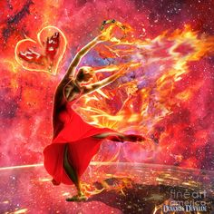 Girl dancing in fire praising the Lord. Fiery heart Holy Spirit Fire Digital Art. Prophetic art painting.