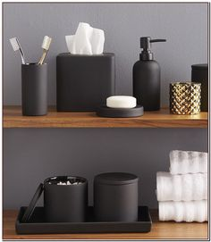 13 Ideas For Creating A More Manly, Masculine Bathroom // Matte black bathroom a. - 13 Ideas For Creating A More Manly, Masculine Bathroom // Matte black bathroom accessories add a ma -