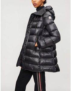 Moncler Suyen Goose Down And Feather-filled Padded Shell Coat in Black - Lyst Moncler, Black Ski Jacket, Chanel Tweed Jacket, Cashmere Jacket, Black Down, Black Peplum, Cargo Jacket, Double Breasted Blazer, Padded Jacket
