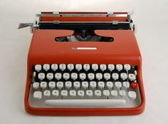 Red Typewriter Sears Courier  Lettera 22 by NeOld on Etsy, $248.00