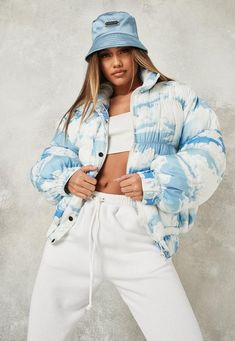 Cute Lazy Outfits, Trendy Summer Outfits, Crop Top Outfits, Blue Puffer Jacket, Puffer Jackets, Blue Clouds, Cool Jackets, Autumn Winter Fashion, Light Blue