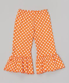Love this Orange Polka Dot Ruffle Capri Pants - Toddler & Girls by SILLY MILLY on #zulily! #zulilyfinds