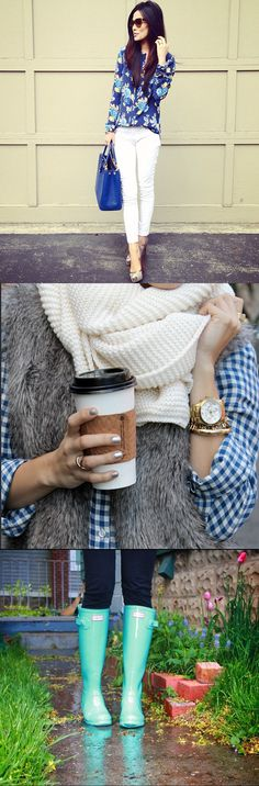 I think this link is junk, but the two bottom pics make a cute outfit! Navy gingham shirt with an infinity scarf, fur vest, skinny jeans and mint Hunter boots.