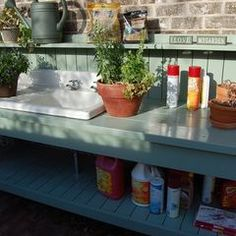 Idea for outdoor potting bench and fish cleaning station by Between Naps on the Porch