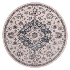 Lara Center Medallion Blue 7 ft. 10 in. x 7 ft. 10 in. Round Area Rug