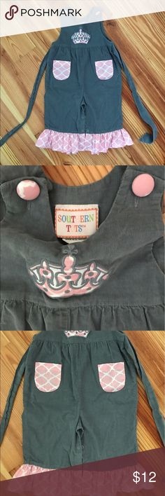 Corduroy Princess Overalls Super Soft fine Corduroy overalls with Princess Tiara on chest. By Southern Tots in size 24 months. Southern Tots One Pieces