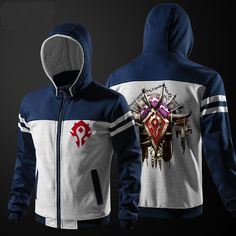 Quality WOW Horde Zip Up Hoodie Red World Of Warcraft Thick Clothing