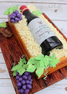 sugar wine bottle and box cake  by Lynette Brandl