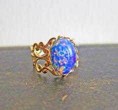 Fire Opal Ring Opal Ring Gift Vintage Filigree Gold by Jewelsalem