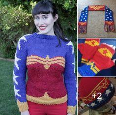 Wonder Woman Knitting Patterns - Free and for purchase. Free patterns for Wonder Woman sweater, scarf, beanie. For purchase patterns for mitts and earflap hat. http://intheloopknitting.com/super-hero-knitting-patterns/