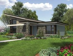 Single Story Contemporary Home Plan 1166 The Dunland |