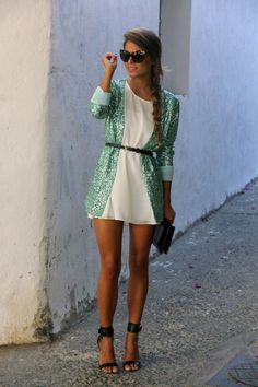 White Cocktail Party Dress paired with a sequined blazer #Cocktail #Party #Dress