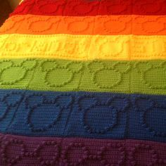 Crochet For Children: Bobble Stitch Chart - Mickey Mouse (Free Pattern) Crochet Bobble, Crochet Motifs, Bobble Stitch, Manta Crochet, Crochet Afghans, Afghan Crochet Patterns, Crochet Squares, Crochet Granny, Baby Blanket Crochet