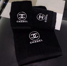 Black Chanel 3pc Towel Set - Glamour Dolls