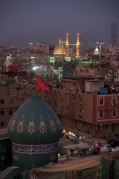 Domes of Abbas' camp overlooking the the golden dome of his shrine today in Karbala, Iraq❤️