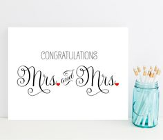 Mrs. and Mrs. Congratulations Card - Wedding Card for Lesbian Couple - Lesbian Wedding Card by WPStationery on Etsy https://www.etsy.com/listing/238453174/mrs-and-mrs-congratulations-card-wedding