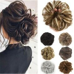12 Colors Synthetic Hair Pony Tail Hair Extension Bun Hairpiece Scrunchie Elastic Wave Curly Synthetic Hairpieces Wrap for Hair Bun - All For Hairstyles Chignon Hair, Ponytail Bun, Messy Bun Hairstyles, Wig Hairstyles, Wedding Hairstyles, Bun Hair Piece, Hair Pieces, Outre Wigs, Messy Curly Bun