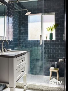 The Property Brothers Create the Ultimate Forever Home for Big Brother JD Scott Dark Blue Bathrooms, White Bathroom, Small Bathroom, Master Bathroom, Marble Bathrooms, Brick Bathroom, Mosaic Bathroom, Washroom, Modern Bathroom