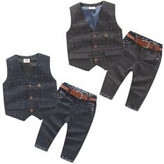 >> Click to Buy << 2016 Spring Male Child Children'S Clothing Vest Long Trousers Twinset Child Boiy Plaid Set  #Affiliate